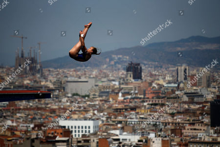 Laura Marino from France performs during the women's 10-meter platform semifinals at the FINA Swimming World Championships in Barcelona, Spain