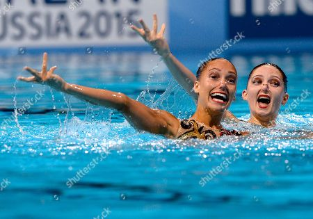 Britain's Olivia Federici and Jenna Randall perform their routine in the synchronised swimming technical duet event at the FINA Swimming World Championships in Barcelona, Spain
