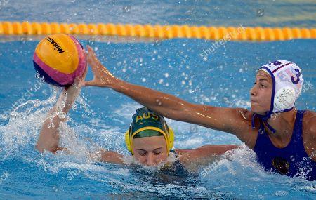 Ekaterina Prokofyeva, Nicola Zagame Russia's Ekaterina Prokofyeva, right, reaches for the ball against Australia's Nicola Zagame during a women's water polo semifinal at the FINA Swimming World Championships in Barcelona, Spain