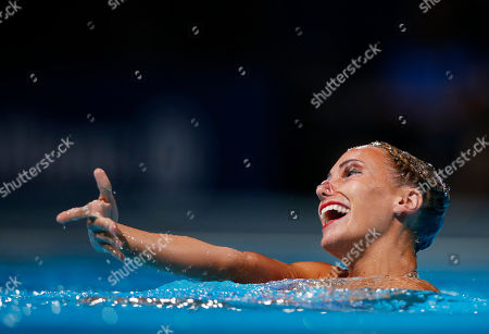 Stock Picture of Great Britain's Jenna Randall performs her routine in the synchronized swimming solo final at the FINA Swimming World Championships in Barcelona, Spain