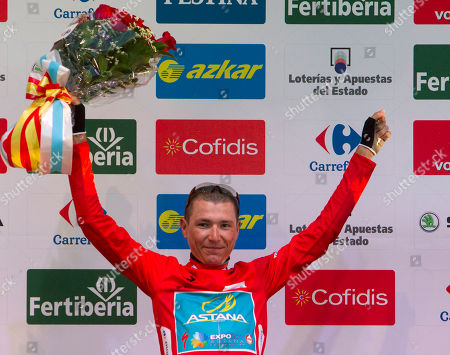 Stock Picture of Janez Brajkovic Janez Brajkovic from Slovenia, Astana team, celebrates on the podium after winning the 27-kilometer (16.77-mile) first stage between Vilanova de Arousa and Sanxenxo of the Spanish Vuelta cycling race in Spain, . The 21-stage race ends in Madrid on Sept. 15