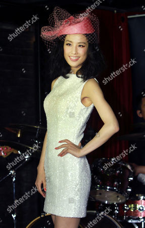 """Stock Image of Eva Huang Chinese singer Eva Huang poses for press during a media event promoting her new album """"Facing Love"""" in Taipei, Taiwan"""