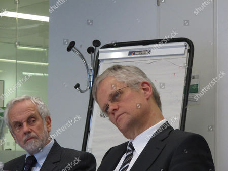 Stock Photo of Halldor Thorgeirsson, Brian Hoskins Halldor Thorgeirsson, right, a senior director with the United Nations Framework Convention on Climate Change, and researcher Brian Hoskins take questions during a press briefing at London's Imperial College on . Thorgeirsson said international leaders are failing to fight global warming, appealing directly to the world's voters to pressure their politicians into taking tougher action against the buildup of greenhouse gases