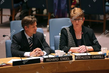 Stock Picture of Kathleen Carroll,Richard Engel Associated Press Executive Editor Kathleen Carroll, right, addresses a United Nations Security Council meeting on the protection of civilians in armed conflict and the protection of journalists, at U.N. headquarters. NBC News chief foreign correspondent Richard Engel listens