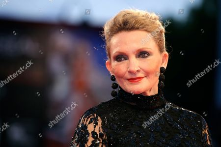 Author Robyn Davidson possess on the red carpet for her film Tracks, during the 70th edition of the Venice Film Festival in Venice