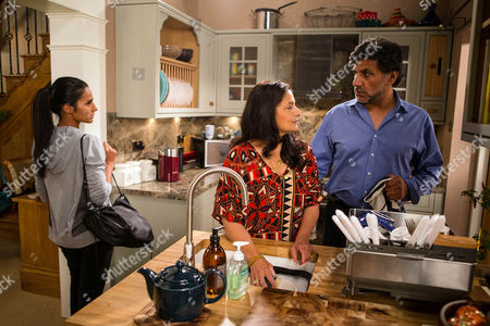 Sharif's guilt-ridden after sleeping with Sonia, as played by Sudha Bhuchar, and when she starts criticising Yasmeen's taste, Sharif Nazir, as played by Marc Anwar, forbids her from mocking his wife. Sonia's chastened but as Sharif places a hand on her back, Alya Nazir, as played by Sair Khan,  walks in and clocks their intimacy. (Ep 8994 - Monday 19th September 2016)