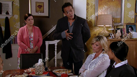 As Erica Holroyd's, as played by Claire King, patience with Aadi Alahan, as played by Kennon Ditchett, and Asha Alahan, as played by Tanisha Gorey, wears thin, Dev Alahan, as played by Jimmi Harkishin, confronts Mary Taylor, as played by Patti Clare, with a copy of her contract, pointing out she's breaking its terms by leaving Erica to cover her duties. (Ep 8997 - Friday 23rd September 2016)
