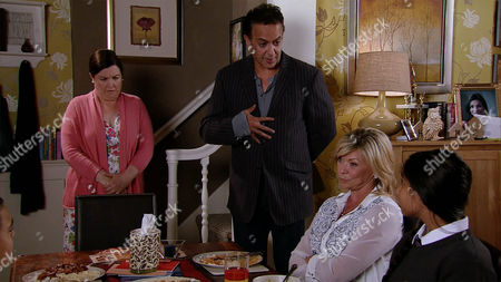 Stock Photo of As Erica Holroyd's, as played by Claire King, patience with Aadi Alahan, as played by Kennon Ditchett, and Asha Alahan, as played by Tanisha Gorey,wears thin, Dev Alahan, as played by Jimmi Harkishin, confronts Mary Taylor, as played by Patti Clare, with a copy of her contract, pointing out she's breaking its terms by leaving Erica to cover her duties. (Ep 8997 - Friday 23rd September 2016)