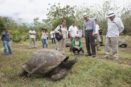 Secretary-General Ban Ki-moon (second from right) and his wife Yoo Soon-taek, visit the Highlands of Santa Cruz island in the Galapagos, where they observe giant tortoises. On the right, Horacio Sevilla Borja, Permanent Representative of the Republic of Ecuador to the United Nations.
