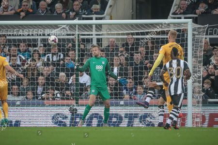 Newcastle take the lead with Anders Lindegaard (Preston North End) watching as the ball goes past him. 1-0 during the EFL Cup 4th round match between Newcastle United and Preston North End at St. James's Park, Newcastle