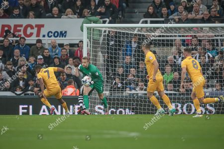 Anders Lindegaard (Preston North End) makes a save during the EFL Cup 4th round match between Newcastle United and Preston North End at St. James's Park, Newcastle
