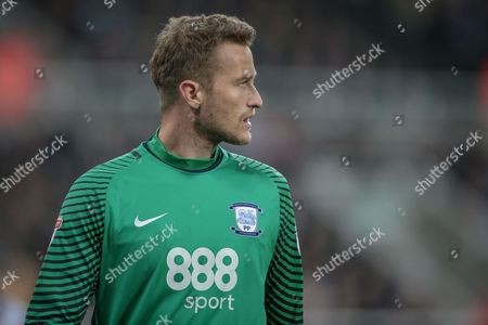 Anders Lindegaard (Preston North End) during the EFL Cup 4th round match between Newcastle United and Preston North End at St. James's Park, Newcastle