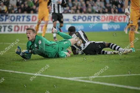 Anders Lindegaard (Preston North End) watches as the ball goes towards his goal during the EFL Cup 4th round match between Newcastle United and Preston North End at St. James's Park, Newcastle