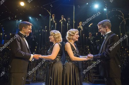 Haydn Oakley as Terry Connor, Louise Dearman as Daisy Hilton, Laura Pitt-Pulford as Violet Hilton, Dominic Hodson as Buddy Foster
