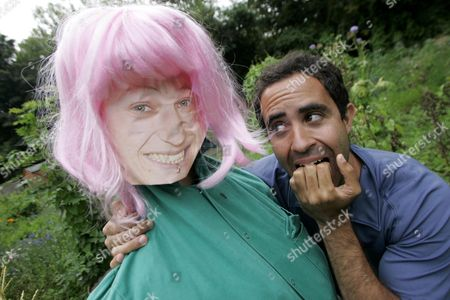 Chris Newman with his Tracey Barnard scarecrow