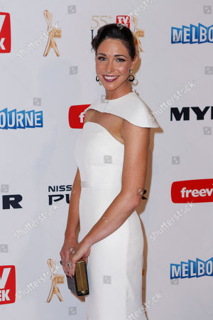 Stock Image of Australian television personality Giaan Rooney arrives for the 2013 Logie Awards at Crown Casino in Melbourne, Australia