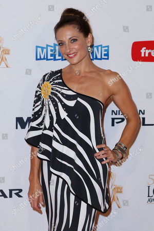 Australian actress Georgie Parker arrives for the 2013 Logie Awards at Crown Casino in Melbourne, Australia