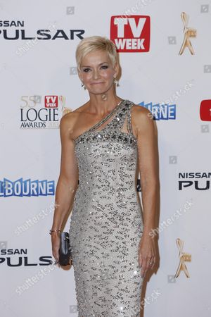 Australian television presenter Jessica Rowe arrives for the 2013 Logie Awards at Crown Casino in Melbourne, Australia