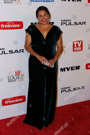 Stock Photo of Australian actress Deborah Mailman arrives for the 2013 Logie Awards at Crown Casino in Melbourne, Australia