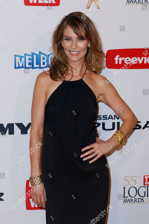 Stock Picture of Australian actress Kat Stewart arrives for the 2013 Logie Awards at Crown Casino in Melbourne, Australia