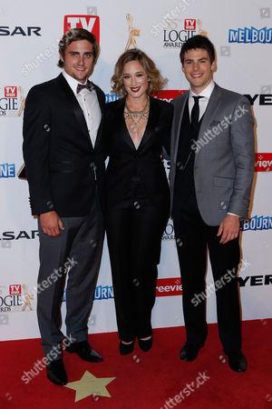 Steve Milligan, Eve Morey and James Mason arrive for the 2013 Logie Awards at Crown Casino in Melbourne, Australia