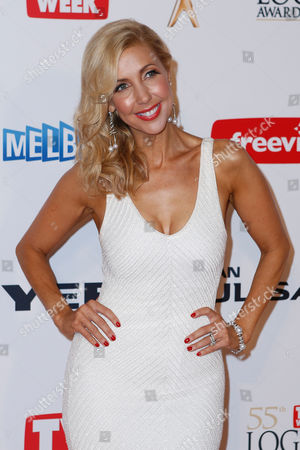 Stock Image of Australian television personality Catriona Rowntree arrives for the 2013 Logie Awards at Crown Casino in Melbourne, Australia