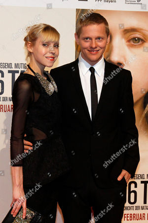 "Antonia Campbell-Hughes, Thure Lindhardt British actress Antonia Campbell-Hughes, and Danish actor Thure Lindhardt, right, pose for photographers before the premiere of the film ""3096 Days"" in Vienna, Austria, . The film tells the story of Natascha Kampusch who was abducted as a schoolgirl and held prisoner in a cellar for almost nine years"