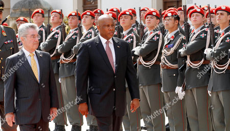Letsie III, Heinz Fischer Austrian President Heinz Fischer and King Letsie III of Lesotho, from left, review the honor guard during a welcoming ceremony in front of the Hofburg palace in Vienna, Austria, . King Letsie III is in Austria for a one-day official working visit