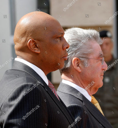 Letsie III, Heinz Fischer King Letsie III of Lesotho and Austrian President Heinz Fischer, from left, listen to the national anthems during a welcoming ceremony in front of the Hofburg palace in Vienna, Austria, . King Letsie III is in Austria for a one-day official working visit