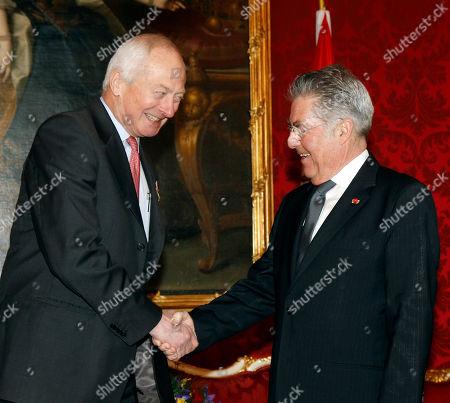 Heinz Fischer, Hans Adam II of Liechtenstein Austrian President Heinz Fischer, right, shakes hands with Prince Hans Adam II of Liechtenstein, left, during a welcoming ceremony at the Hofburg palace in Vienna, Austria