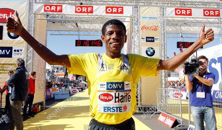 Haile Gebrselassie Ethiopia's long distance runner Haile Gebrselassie crosses the finish line to win the Vienna city half marathon, in Vienna, Austria, on