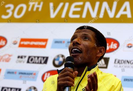Haile Gebrselassie Ethiopia's long distance runner and marathon world record holder Haile Gebrselassie speaks during a news conference ahead of the 30th Vienna city marathon in Vienna, Austria