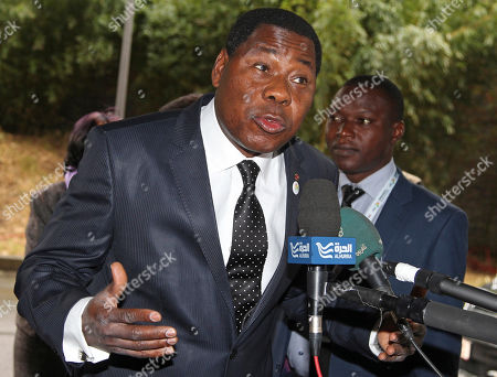 Stock Image of Thomas Yayi Boni Benin President Thomas Yayi Boni addresses the media upon arrival for the Donor Conference for Development in Mali, in Brussels, . Mali aims to raise 2 billion euros ($2.6 billion) at an international donor conference to fund its recovery after Islamist militants marched on Bamako this year, prompting a French military intervention