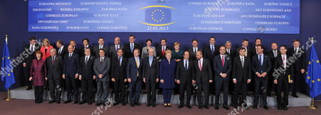 EU heads of State pose for a group photo at an EU summit in Brussels on . Leaders from the 27 European Union countries gather in Brussels for one of their regular European Council sessions. Front row from left to right are EU foreign policy chief Catherine Ashton, Luxembourg's Prime Minister Jean-Claude Juncker, Italy's Prime Minister Enrico Letta, European Commission President Jose Manuel Barroso, Cypriot President Nikos Anastasiadis, Bulgarian President Rosen Plevneliev, Irish Prime Minister Enda Kenny, European Council President Herman Van Rompuy, Lithuania's President Dalia Grybauskaite, French President Francois Hollande, European Parliament President Martin Schulz, Greek Prime Minister Antonis Samaras, Latvian Prime Minister Valdis Dombrovskis, Dutch Prime Minister Mark Rutte. Top row: Croatia's Prime Minister Zoran Milanovic, Denmark's Prime Minister Helle Thorning-Schmidt, Poland's Prime Minister Donald Tusk, Hungarian Prime Minister Viktor Orban, Belgium's Prime Minister Elio Di Rupo, Spain's Prime Minister Mariano Rajoy, Swedish Prime Minister Fredrik Reinfeldt, Czech Republic's Prime Minister Petr Necas, Slovenia's Prime Minister Alenka Bratusek, Portugal's Prime Minister Pedro Passos Coelho, German Chancellor Angela Merkel, Finland's Prime Minister Jyrki Katainen, Romania's Prime Minister Victor-Viorel Ponta, Austrian Chancellor Werner Faymann, Estonia's Prime Minister Andrus Ansip, British Prime Minister David Cameron, Malta's Prime Minister Joseph Muscat and Slovakia's Prime Minister Robert Fico