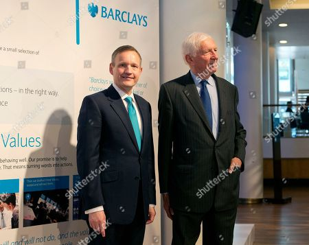 Antony Jenkins, left, CEO of Barclays Bank and David Walker, Chairman of the bank pose for photographers in London, prior to the bank's annual general meeting