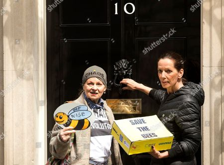British fashion designers Vivienne Westwood, left and Katharine Hamnett poses for the media on the doorstep of 10 Downing Street as they help pass on a petition in support of apiarists and their campaign to show public opinion ahead of the European Commission vote on the proposal to ban bee-harming neonicotinoid pesticides, in London, Friday, April, 26, 2013