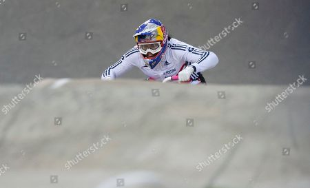 Britain's Shanaze Reade wins the Women Elite competition at the BMX Supercross World Championships, Manchester, England