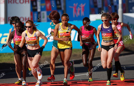 Stock Image of Mai Ito, Yoko Shibui, Remi Nakazato Mai Ito of Japan, left, Yoko Shibui of Japan, fourth left, and Remi Nakazato of Japan, right, start the elite women race during the London Marathon in London, . The London Marathon started as planned on a glorious sunny morning Sunday despite concerns raised by the bomb attacks on the Boston Marathon six days ago