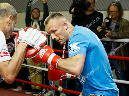 Mikkel Kessler trains during a media opportunity in London, . Mikkel Kessler will fight against Carl Froch in a super-middleweight boxing match on May 25 in London