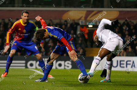 William Gallas, Valentin Stocker Tottenham Hotspur's William Gallas, right, competes with Basel's Valentin Stocker during their Europa League quarterfinal first leg soccer match at White Hart Lane, London