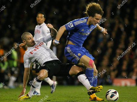 Mladen Petric, David Luiz Fulham's Mladen Petric, left, competes with Chelsea's David Luiz during their English Premier League soccer match at Craven Cottage, London