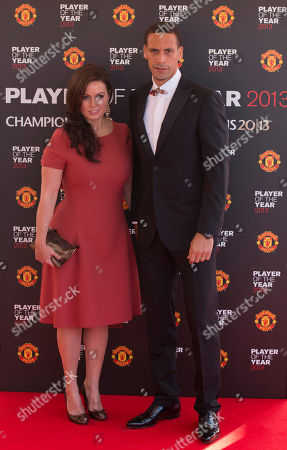 Manchester United's Rio Ferdinand arrives with his wife Rebecca Ellison at the team's Player of the Year Awards dinner at Old Trafford Stadium, Manchester, England