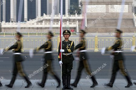 Stock Picture of Chinese honor guards prepare for a welcome ceremony for Iceland's Prime Minister Johanna Sigurdardottir outside the Great Hall of the People in Beijing