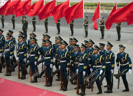 Stock Picture of Chinese honor guards line-up before a welcome ceremony for Iceland's Prime Minister Johanna Sigurdardottir outside the Great Hall of the People in Beijing