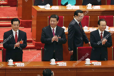 Hu Jintao, Xi Jinping, Li Kiqiang, Wen Jiabao From left, China's former President Hu Jintao, newly appointed President Xi Jinping, newly appointed Premier Li Kiqiang and former Chinese Premier Wen Jiabao arrive to the closing session of the National People's Congress at the Great Hall of the People in Beijing China