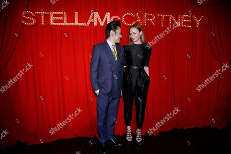 Stella McCartney, Wu Xiubo British fashion designer Stella McCartney, right, speaks with Chinese actor Wu Xiubo on the red carpet of her own fashion brand event in Shanghai, China