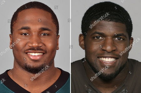 S show Dion Lewis of the Philadelphia Eagles NFL football team, left, and Emmanuel Acho, of the Cleveland Browns, right. The Browns have acquired backup running back Lewis from the Eagles in a trade for linebacker Acho