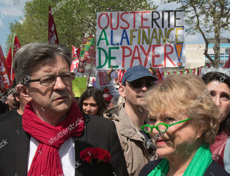 Jean-Luc Melanchon, Eva Joly Leftist Front leader Jean-Luc Melanchon, left, and leader of the Europe Ecology Green Party, Eva Joly, right, are seen during a rally to protest the austerity plan of French President Francois Hollande in Paris, . Tens of thousands of supporters of leftist parties are marching through central Paris to express disappointment with President Francois Hollande's first year in power, criticizing the leader for reneging on his promises to rein in the world of finance and enact economic stimulus
