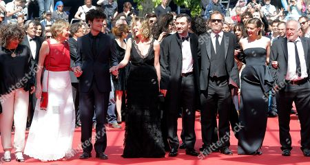Marisa Borini, Louis Garrel, Valeria Bruni Tedeschi, Filippo Timi, Xavier Beauvois, Celine Sallette, Andre Wilms Cast, from second left, Marisa Borini, Louis Garrel, director Valeria Bruni Tedeschi, Filippo Timi, Xavier Beauvois, Celine Sallette and Andre Wilms arrive for the screening of A Castle in Italy at the 66th international film festival, in Cannes, southern France