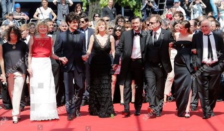 Stock Image of Marisa Borini, Louis Garrel, Valeria Bruni Tedeschi, Filippo Timi, Xavier Beauvois, Celine Sallette Cast, from second left, Marisa Borini, Louis Garrel, director Valeria Bruni Tedeschi, Filippo Timi, Xavier Beauvois, Celine Sallette and Andre Wilms arrive for the screening of A Castle in Italy at the 66th international film festival, in Cannes, southern France